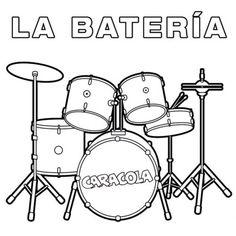 Dibujos Para Colorear Baterias Musicales