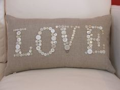 LOVE Cushion Cover pillow buttoned by MalloryFurnishing on Etsy, £37.00