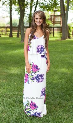 The Pink Lily Boutique - Down To The Garden Maxi Dress , $35.00 (http://thepinklilyboutique.com/down-to-the-garden-maxi-dress/)