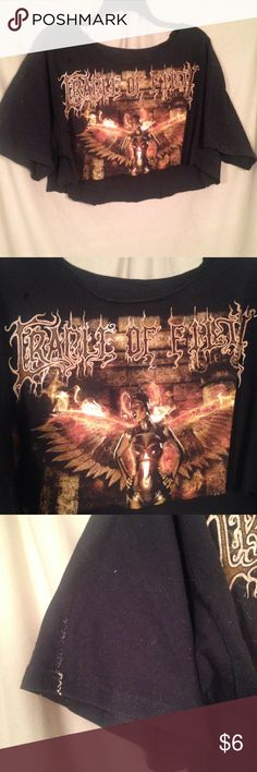 cradle of filth crop This cradle of filth crop top has a shit ton of character, which is totally metal. lol it's flawed, it has paint stains on both sleeves which are pictured, and a small hole above the print. I wore this once to their 2016 tour. Used to be a size L shirt but I diy-d into an oversized crop top. This works best if you have a small B cup or less. Will post a try on if u need to see the fit/length better! Tops Crop Tops