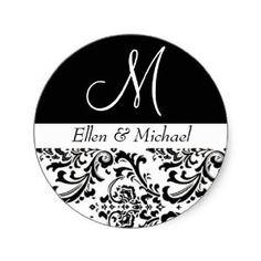 Amazon.com: Damask Wedding Monogram Black and White Invitation Round Stickers: Toys & Games
