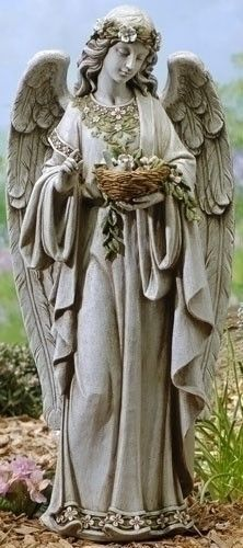 """Guardian Angel With Flowers Holding Birds Nest 24"""" Tall Garden Or Patio"""