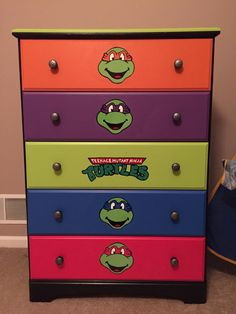 DIY furniture : TMNT dresser idea! My son loves it! Teenage mutant ninja turtle dresser hand painted - no stickers!                                                                                                                                                                                 More