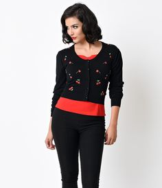 Banned Black & Red Cherry Rockabilly Drive Me Crazy Cardigan - Tops - Clothing - Sale | Unique Vintage
