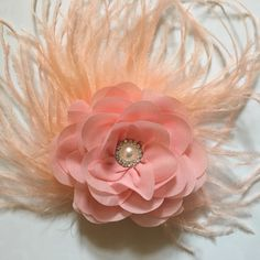 Fancy Peach Pink Chiffon Flower Feather Fascinator by Fancy Girl Boutique NYC