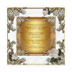 Elegant Wedding White Gold Cream Rose Custom Invites