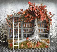 Miniature Fall Blossoms Bookshelf November Layaway by LDelaney, $118.75