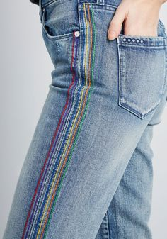 Blank NYC In the Stitches Embroidered Jeans Blue ModCloth Diy Jeans, Jeans Belts, Sewing Jeans, Embroidery On Clothes, Embroidered Clothes, Diy Embroidered Jeans, Jeans With Embroidery, Diy Jean Embroidery, Custom Embroidered Patches
