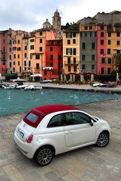 Fiat 500 Convertible. Portovenere, Ligurian, La Spezia, Italy.