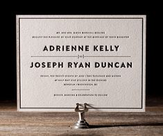 This boldly restrained letterpress wedding invitation design is perfect for a black tie wedding with timelessly formal elegance.