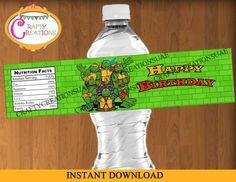 Ninja Turtles Water Bottle Labels- Printable Ninja Turtles Birthday- Ninja Turtles Party Labels- DIGITAL -INSTANT DOWNLOAD -CraftyCreations Turtle Birthday Parties, Ninja Turtle Birthday, Ninja Turtle Party, Ninja Turtles, 3rd Birthday, Monster High Birthday, Monster High Party, Printable Water Bottle Labels, Printable Labels