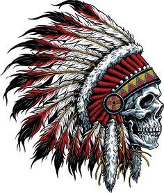 tattoos - Details about Indian Chief Skull Decal Sticker Car Truck Window Bumper Laptop Wall Tatoo Art, Body Art Tattoos, Tattoo Drawings, Sleeve Tattoos, Cross Tattoos, Sketch Tattoo, Small Tattoos, Native American Tattoos, Native American Indians