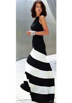 Black-White Striped Color Block Cross Back Round Neck Sleeveless Dress