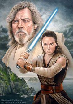 The Last Jedi oil painting featuring Luke Skywalker and Rey. The Last Jedi - Luke and Rey Star Wars Day, Rey Star Wars, Star Wars Images, Disney Stars, Marvel, Love Stars, Last Jedi, Sci Fi Movies, Luke Skywalker