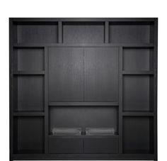 Wandmeubel Flex | Keijser & Co Alcove Storage, Wooden Tv Stands, House Interior, Interior Decorating, Tv Wall Cabinets, Living Room Cabinets, Cabinet Design, Home Decor, Black Furniture