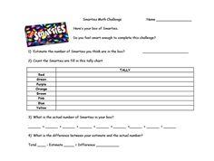 Smarties Math printable activities