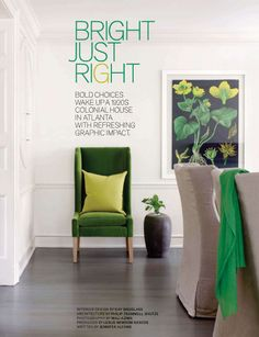 green accent color for living room