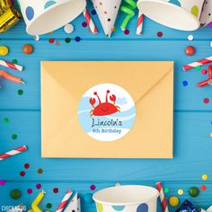Under the Sea Birthday Stickers – Chickabug Diy Party, Party Favors, Under The Sea Party, Personalized Stickers, Favor Bags, Perfect Party, Party Printables, 4th Birthday, Prints