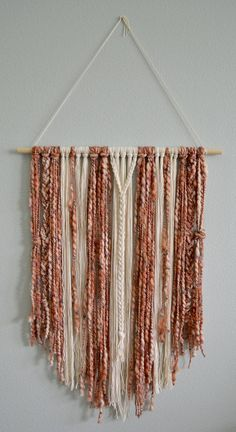 Boho Macrame Wall Hanging Rust, Rose Blush Pink and Cream Yarn Boho Nursery Minimalist Wall Decor Wall Hanging Boho Farmhouse - Wall hanging diy, Minimalist wall decor - Bedroom Minimalist, Minimalist Interior, Minimalist Decor, Minimalist Furniture, Minimalist Kitchen, Minimalist Living, Modern Minimalist, Yarn Wall Art, Diy Wall Art