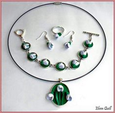 Snowdrops - quilling necklace, earrings, ring and bracelet set by Elven Quill www.facebook.com/elven.quill