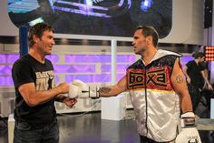 Pat Cash and Anthony Mundine on the set of A League Of Their Own (AU). #ALOTOau #patcash #tennis #anthonymundine #boxing