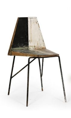 Willy Frühwirt; Lacquered Wood and Enameled Metal Chair, c1950.