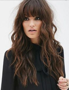 haar pony Amazing Long Hairstyles Ideas You Must Try Right Now Blonde Hair With Bangs, Her Hair, Brunette Bangs, Long Curly Hair, Curly Hair Styles, Great Hair, Amazing Hair, Balayage Hair, Balayage Brunette
