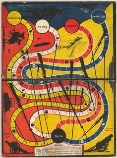 First World War war board-game with routes from Petrograd, London, Paris and Brussels to Berlin (via British Museum) Old Board Games, Vintage Board Games, Old Games, Game Boards, Board Game Design, Game Theory, Table Games, Game Tables, British Museum