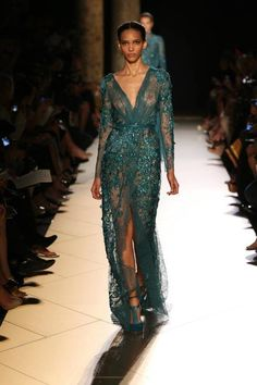 teal gown. sparkle gown. high slit.