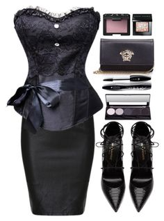 """All Black"" by atomic-jane ❤ liked on Polyvore featuring Yves Saint Laurent, Versace, Lancôme, Bobbi Brown Cosmetics, NARS Cosmetics and black"