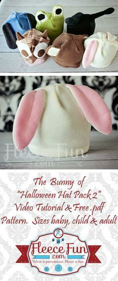 Free Pattern Fleece Bunny Hat for babies, kids, adults  - Fleece Fun