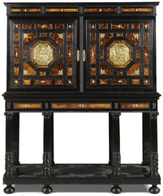 20k A Flemish gilt-bronze-mounted tortoiseshell and ivory inlaid parquetry ebony and ebonised cabinet on stand, Antwerp, in 17th century style, 19th century.