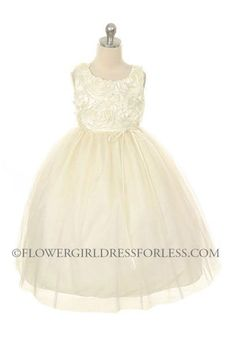 Price is right... Alyssa - what do you think??   Flower Girl Dress Style 525 - Sleeveless Tulle Dress with Rolled Floral Bodice $39.99