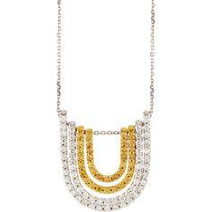 Diana M. Jewels 18k Horseshoe Yellow & White Diamond Pendant Necklace ($3,960) ❤ liked on Polyvore featuring jewelry, necklaces, pendant jewelry, white diamond necklace, yellow pendant necklace, yellow necklace and 18 karat gold jewelry