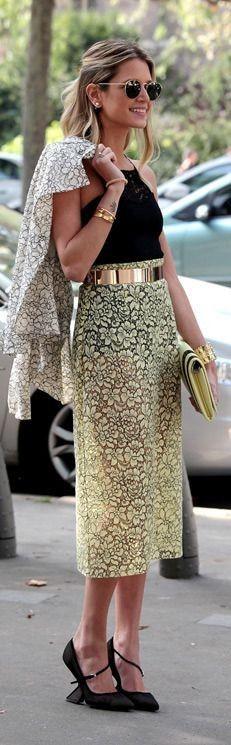 #spring #fashion |Yellow Lace MAxi Skirt + Black Tank |Street Style Paris Fashion Week
