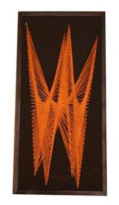 Retro Vintage Nail String Hanging Thread Art 60s 70s Handmade | eBay