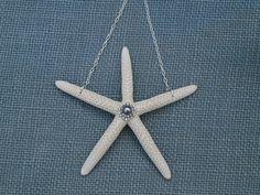 Starfish Wine Bottle Necklace / Door Hanger  by KeepingItCoastal,