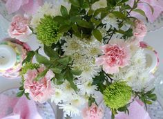 Here is a birds eye view of our table of soft pinks, white and greens.