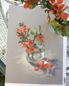 Цветы айвы #пастель#pastelpainting #этюдснатуры