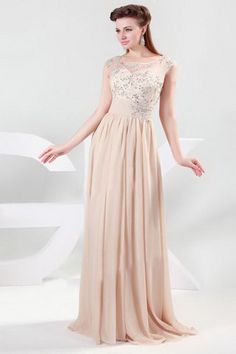 Discount Dizzying A-Line Chiffon Champagne Prom Evening Dress