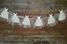 Bride Gown Banner, Bunting, Garland - Wedding, Bridal Shower by LottieElizabeth on Etsy https://www.etsy.com/listing/235866150/bride-gown-banner-bunting-garland