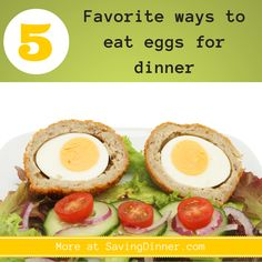 Eggs are one of my go-to meal ingredients on those days where I'm less than inspired to cook, but I still want to put a nutritious, family pleasing meal on the table. You know, eggs don't have to be served alongside toast and bacon to make a meal! The following are five of my favorite ways to eat eggs for dinner: