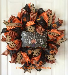 Halloween Wreath, Burlap Wreath, Fall Wreath, Autumn Wreath, Paper Mesh Wreath…