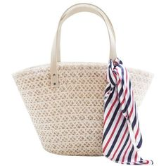 LUCLUC White Straw Zipper Tote Bag with Scraf (€23) ❤ liked on Polyvore featuring bags, handbags, tote bags, straw handbags, straw purse, zipper purse, white tote purse and straw tote handbags