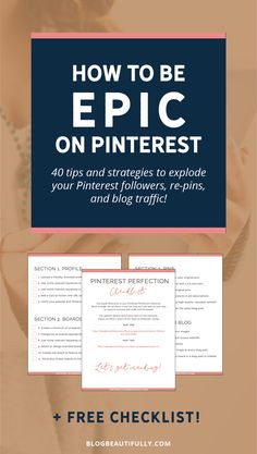 Struggling to grow your blog traffic? Click through for 40+ tips to get more pinterest followers and traffic TODAY! From blogbeautifully.com