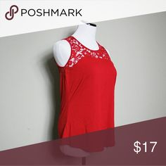 NWT Liz Claiborne Paris Red Lace Top This would make the perfect top.top is a size medium and fits true to size.body is 95% rayon 5% spandex Lace is made of 50% nylon 40% rayon.This top is in perfect condition and is NWT. Liz Claiborne Tops