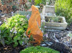 Star Gazing Baby Hare / Rusty Hare Metal Garden Art / Metal Hare Silhouette / Garden Decor / Baby Hare / Garden Art / Hare Garden Gift