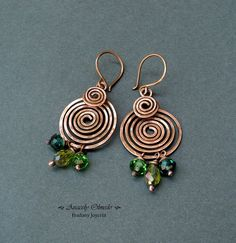 spirals earrings + green crystal beads
