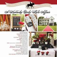 Kentucky Derby themed event in red, black, and white in Austin, Tx. #kentuckyderby #ATX Flowers by @STEMFloral Event  by the Fairy Godmothers