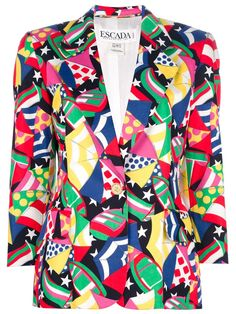 Multicoloured cotton blazer from Escada featuring a jazzy abstract print, wide notched lapels, a single button fastening, two flap pockets and long sleeves with button cuffs. Excellent condition.